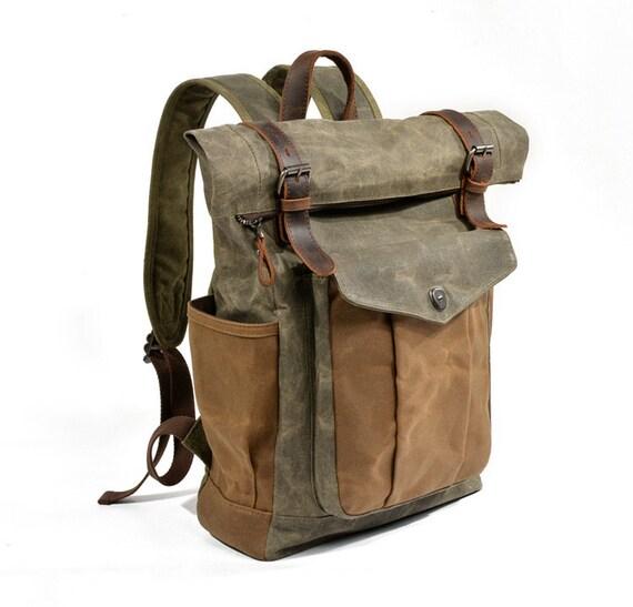 Men/'s Real Leather School Backpack Rucksack Travel Hiking Laptop Messenger Bag