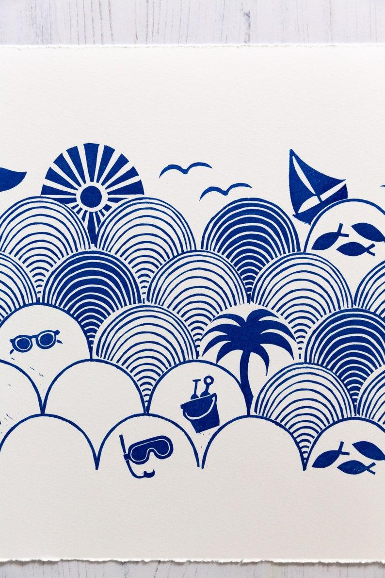 Seigaiha Beach 25x60cm9.8x23.6 blue colors Limited Edition Original Blockprint
