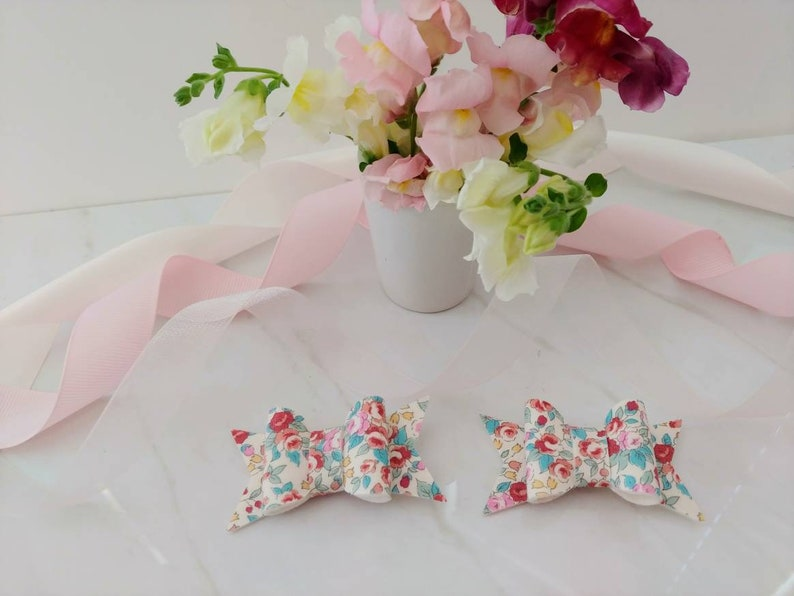 Felt backed Fabric Bow Headband and Hair Clips Floral First Birthday Bow and Barrettes Faux Leather bows Flower Girl Bow Easter hair clip