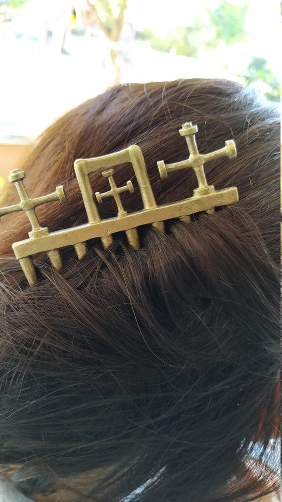 Antique cross-hair clasp, Hair clip, Hair accessor