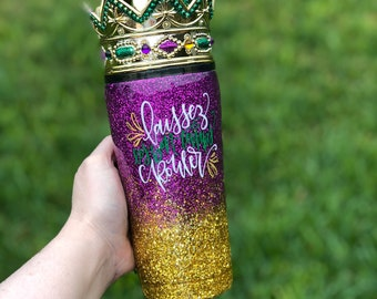 Mardi Gras Glitter Tumbler -  Mardi Gras Cup - New Orleans Tumbler - Ready to Ship - Mardi Gras Gift for Her