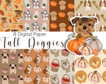 Fall DOG Digital Paper, Digital Paper Pack, Seamless Backgrounds, Dog lovers, Dog Pattern, Scrapbook Paper