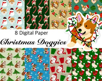 Christmas DOG Digital Paper, Digital Paper Pack, Seamless Backgrounds, Dog lovers, Dog Pattern, Scrapbook Paper