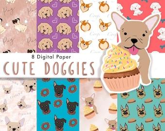 DOG Digital Paper, Digital Paper Pack, Seamless Backgrounds, Dog lovers, Dog Pattern, Scrapbook Paper