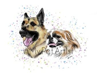 Custom Digital Pet Art - Pet Portrait Illustration , Printable Art, Digital Pet Portrait , Custom Pet Design ∙,Personalized Dog, Cat Lover