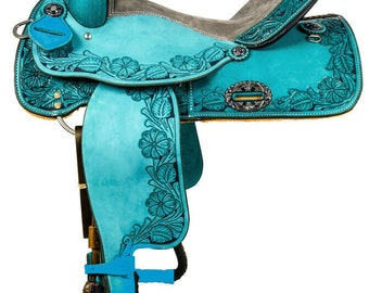 Youth Child Pony Premium Leather Western Barrel Racing Horse Saddle Tack Complete Set 10 inch  to 18 inch Free Shipping