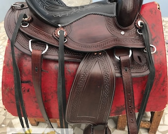 Western Pleasure Cowhide Genuine Leather Saddle Tack, 10 to 18 inch Free Shipping