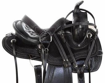 Premium Leather Western Racing Horse Saddle Gaited Bars Padded Seat Pleasure Set