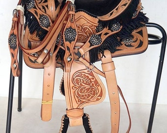 Premium Leather Western Racing Horse Saddle Gaited Bars Padded Seat Pleasure Set Complete 10 to 18 inch Free Shipping