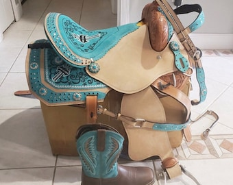 Premium Leather Western Trail Barrel Racing Pleasure Trail Adult Horse Saddle With Tack 10 to 18 inch seat free shipping