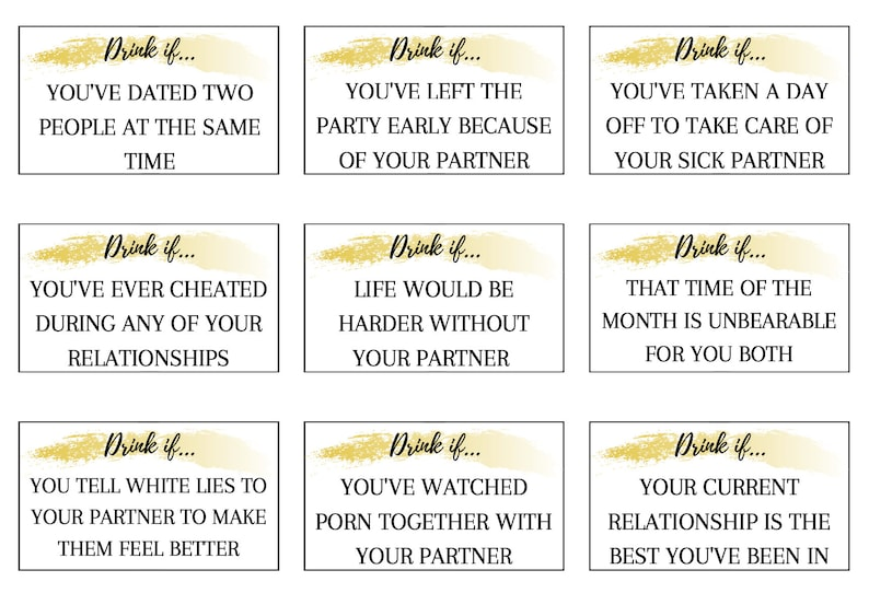 Couples drinking game 99 printable relationship drinking game cards Virtual game Long distance game Virtual Women/'s Day game