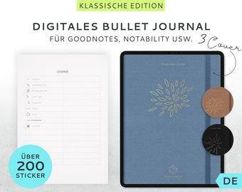 Digitales BuJo Klassik + über 200 Sticker Hochformat Deutsch - Bulletjournal GoodNotes