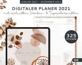 Digital Daily Planner 2021 - Digital Planner German - with 325 digital stickers