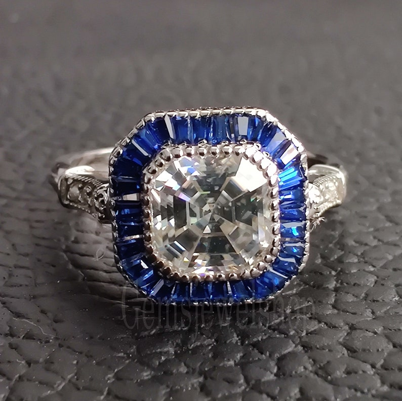 14k White Gold Moissanite Ring Asscher Cut 2.24 CT Colorless White Moissanite Engagement Ring Sapphire Halo Ring Promise Ring Gift For Her
