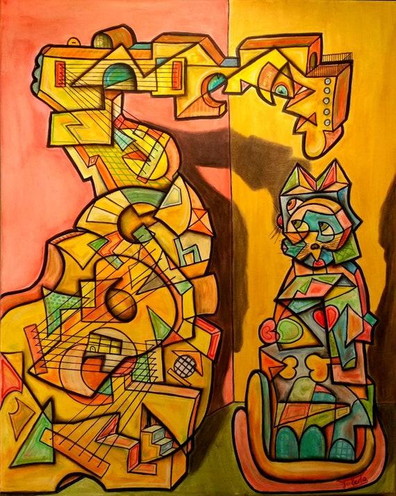 GUITARRA Y GATO (100 x 80 cm)