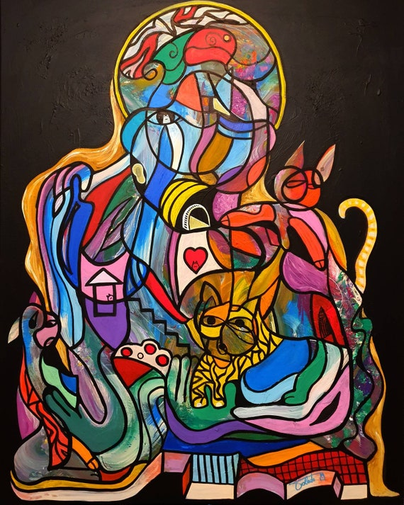 MOTHER of CATS (100 x 80 cm)