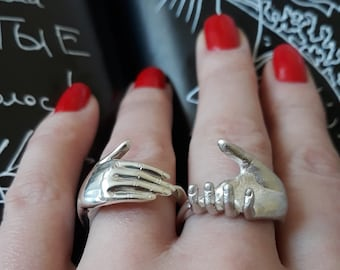Holding Hands Ring Clasping Hands Silver Friendship Ring