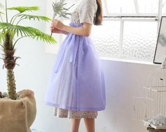 Hanbok Woman Cover Rap Skirt Chima Korea Modernized Daily Casual Party Dress Dol Party Lavender