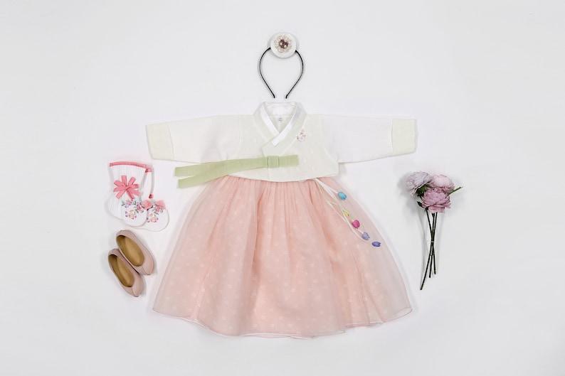 Korean Hanbok First Birthday Hanbok Dress Traditional Baby Girl Clothing Dohl Dolbok 1 Age Party Celebration Wedding 6 Items MG01