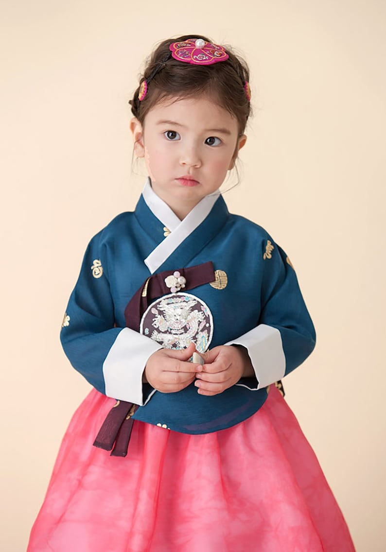 Hanbok Dress  Korean Traditional First Birthday Party Celebration Baby Girl Hanbok 100th days to 8 Ages Navy Green Gold Print