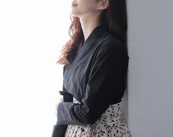 Modern Hanbok Top Jeogori Jacket Black Solid Cotton Korea Traditional Costume Blouse New Year Dol Party