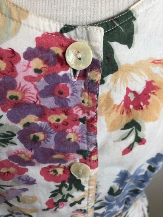 1980s Floral Day Dress - L - image 3