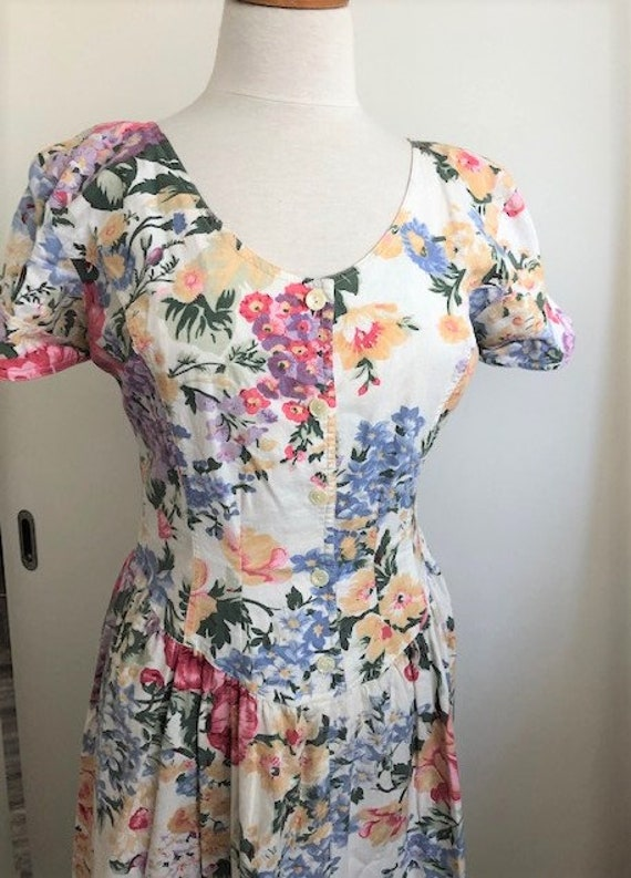 1980s Floral Day Dress - L - image 2