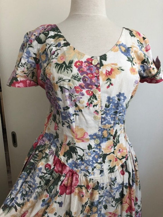 1980s Floral Day Dress - L - image 6