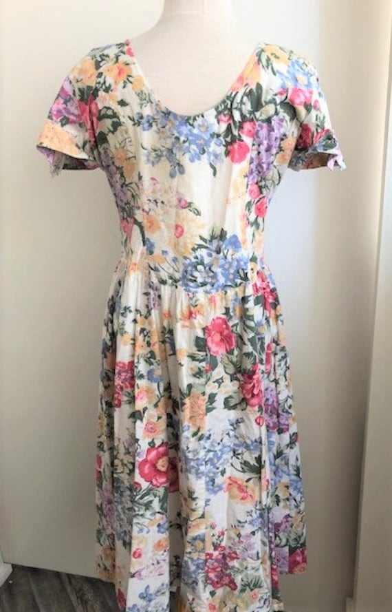 1980s Floral Day Dress - L - image 7