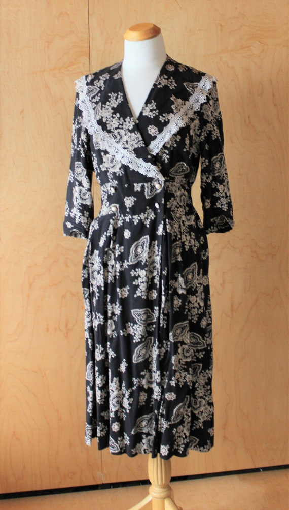 Perfect 90s black and cream day dress - size LARGE