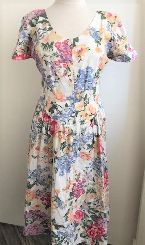 1980s Floral Day Dress - L - image 1