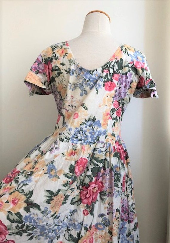 1980s Floral Day Dress - L - image 8