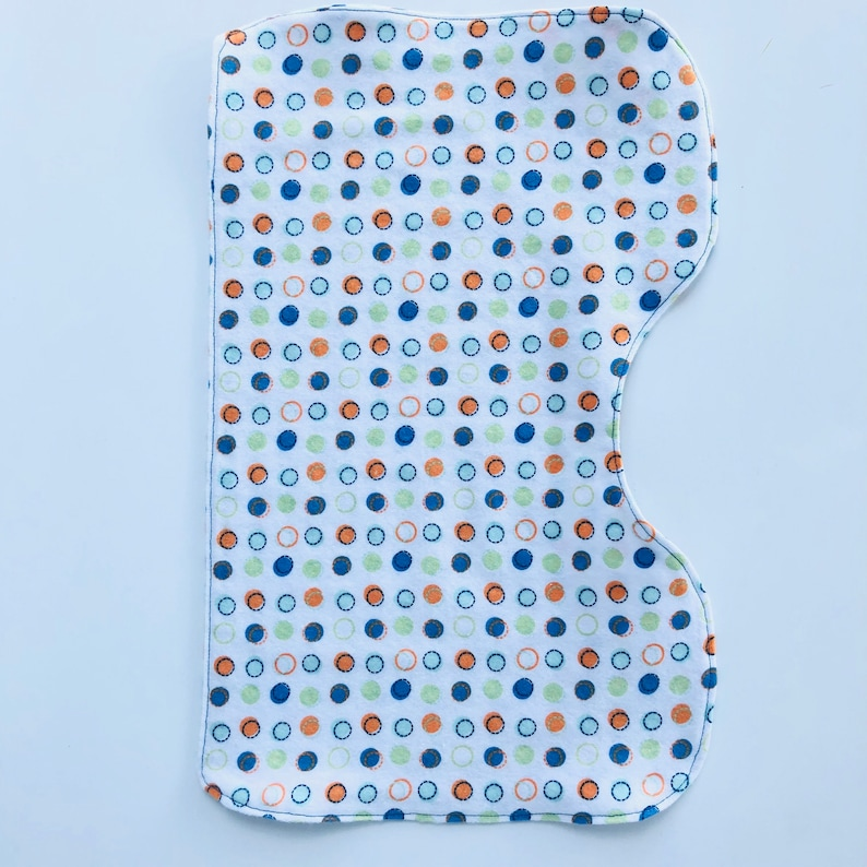 Hourglass Side Best Burp Cloth Soft And Cozy Fabric Blue and Orange Dots Baby Burp Cloths Single