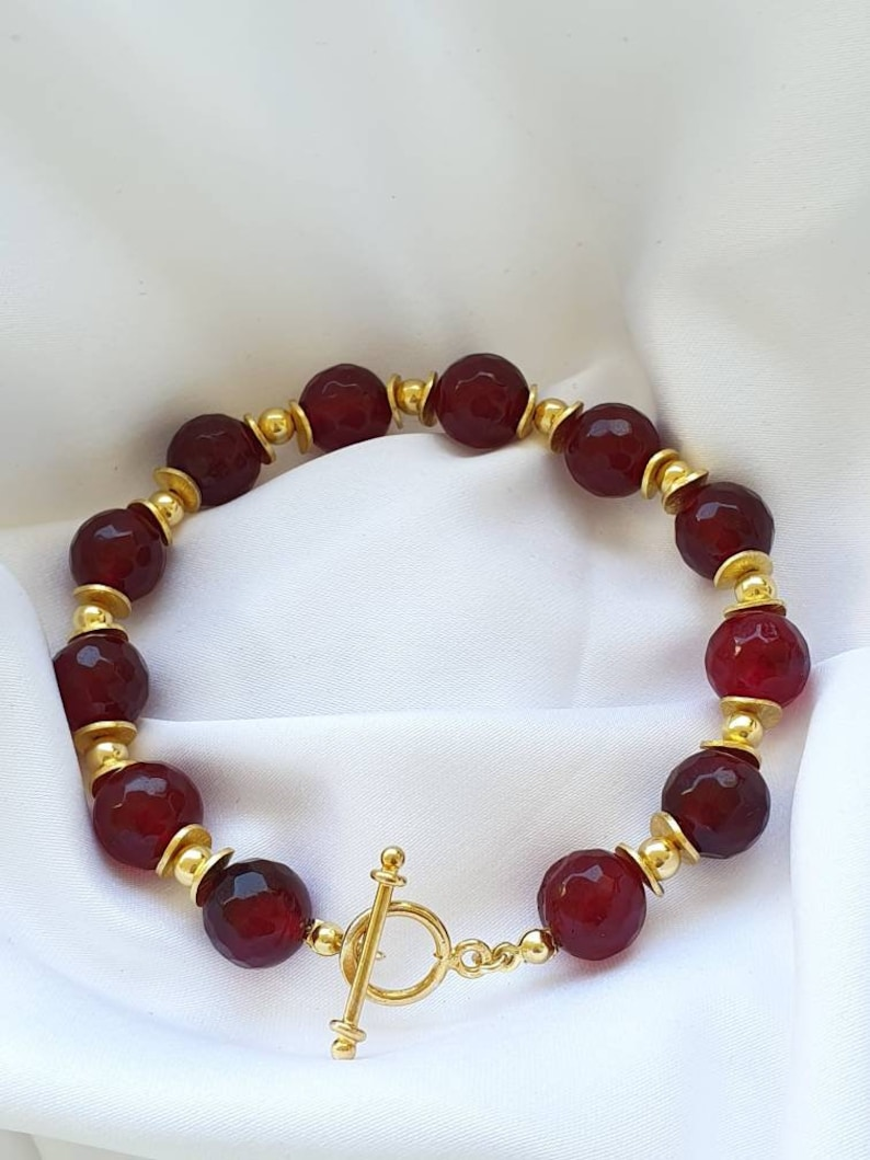 Gorgeous Red Jade BraceletRed and Gold Bracelet Ideal Valentine/'s day gift