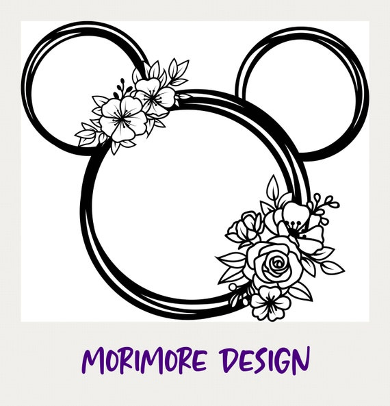 Mickey Minnie Head Svg,Laurel Svg,Mickey Minnie Flower Svg,Floral Mickey Head Svg,Cut File For Cricut Mickey Shamrock Svg,Mickey Wreath Svg