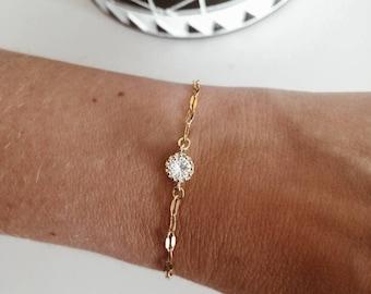 Gold crystal bracelet, crystal pendant, elegant stone bracelet, 18k genuine gold plated, birthday, for you, trend, delicate, layering, trending