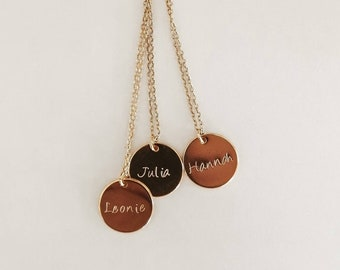 Handmade personalized necklace, name, text, favorite word, saying, letter, engraving mother-daughter, best friend, gold, silver