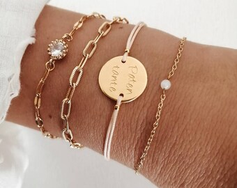 Engraving bracelet, maid of best, bridesmaid, godmother, friendship bracelet, children's name, with engraving, one size fits all, personalized, italic,