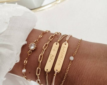 Engraving bracelet, friendship bracelet, personalized, your word, statement, bridesmaid, godmother, child name, one size fits all, italic, inn