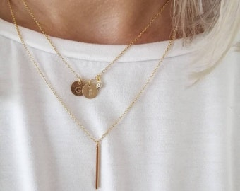 Initials necklace, letter, engraving disc, crystal, 18k plated, mother daughter, best friend, sister, gift, personalized