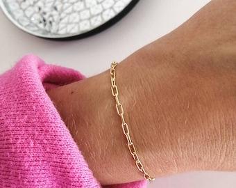 large chain, delicate bracelet, rectangular links, 18k gold plated, minimalist bracelet, trend 2020, jewelry for her, globige chain