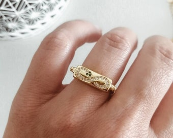 snake ring, 18k gilded, crystal stones, customizable, trend summer, stackable, one size, gift, best friend, signet ring, great