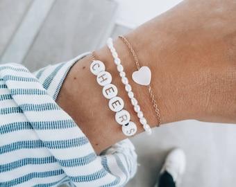 heart bracelet, freshwater pearl bracelet, cheers bracelet, summer trend bracelets, top seller 2021, best friend, sisters, gold, gift