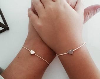 2 bracelets set, twinning, mother-daughter, best friend, sisters, partner bracelet, stretch heart bracelet, gold, rosegold or silver,