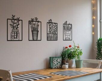 Jardin Metal Wall Art, Livingroom Metal Flower Wall Art, Kitchen Wall Decor, Housewarming Gift, Vintage Wall Decoration, Boho Wall Decor