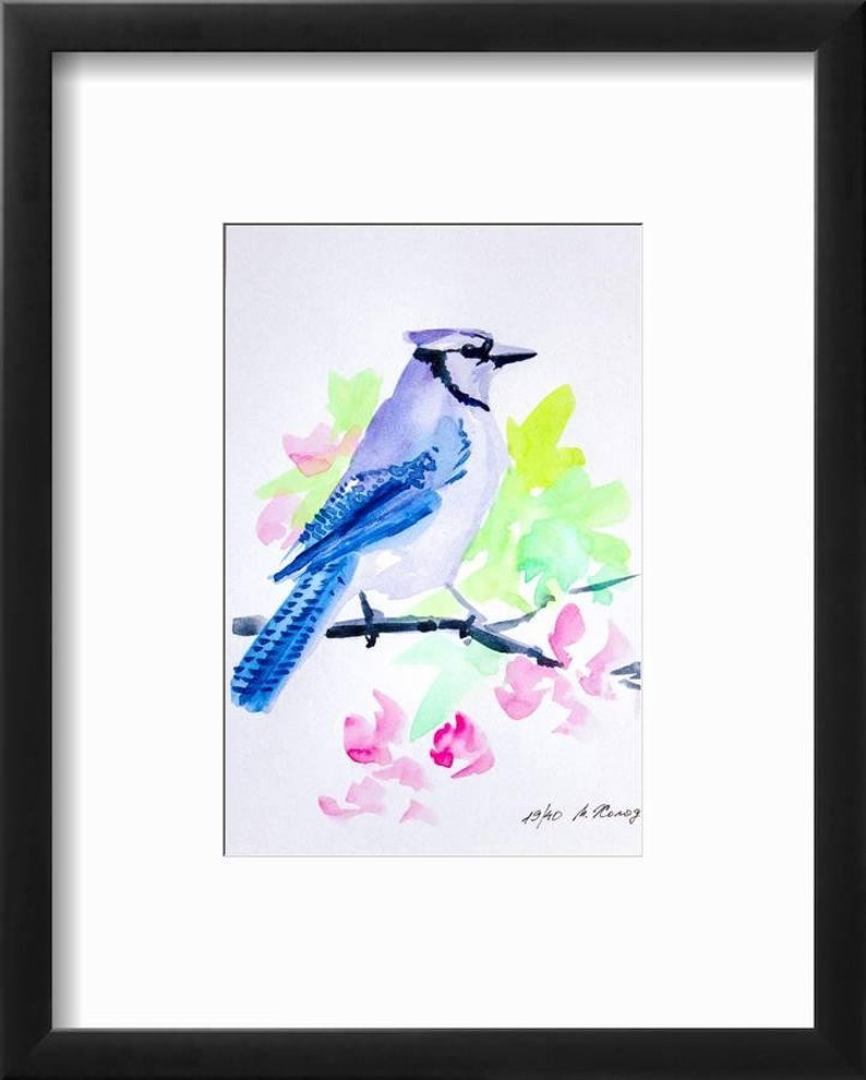 Blue Jay Original Watercolor Bird Painting Artwork by 5.5 7 Maria Kholodova