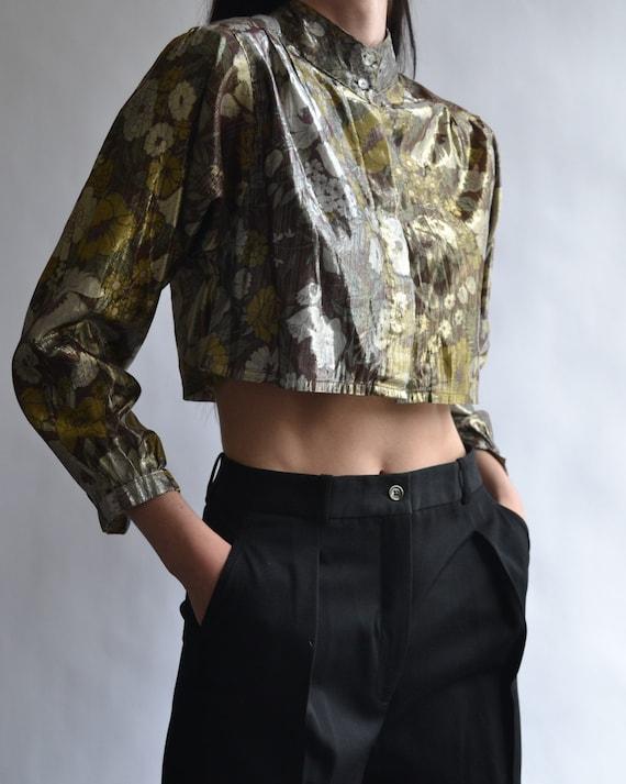 Vintage Cropped Long Sleeve Blouse - image 2
