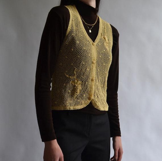 Crochet Style Button Up Sweater Vest - image 5