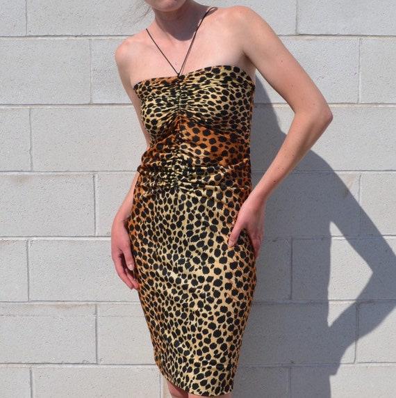 Leopard Print Ruched Halter Dress