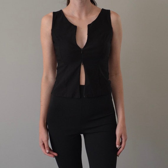 Black Sheer Mesh Double Zip Tank